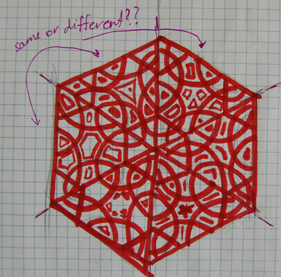 hexagon. with same..or different triangles wich form it?